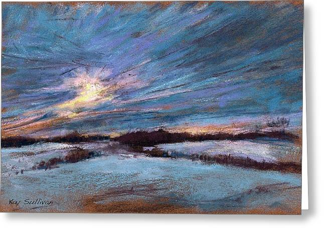 Maine Landscape Pastels Greeting Cards - Winter Sunrise Greeting Card by Kay Sullivan