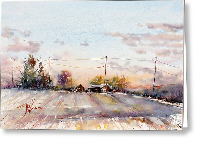 Winter Sunrise On The Lane Greeting Card by Judith Levins