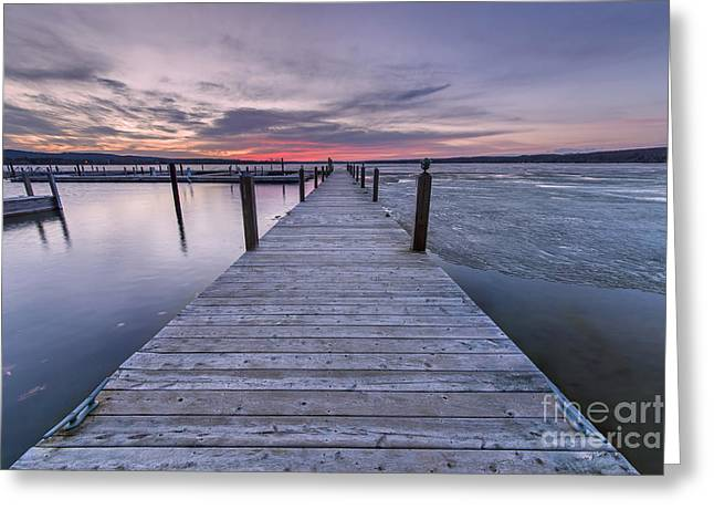 Portage Photographs Greeting Cards - Winter Sunrise over Portage Lake Greeting Card by Twenty Two North Photography