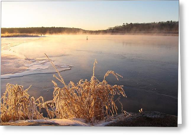 Foggy Beach Greeting Cards - Hoarfrost Sunrise on Pentwater River Greeting Card by Jane Greiner