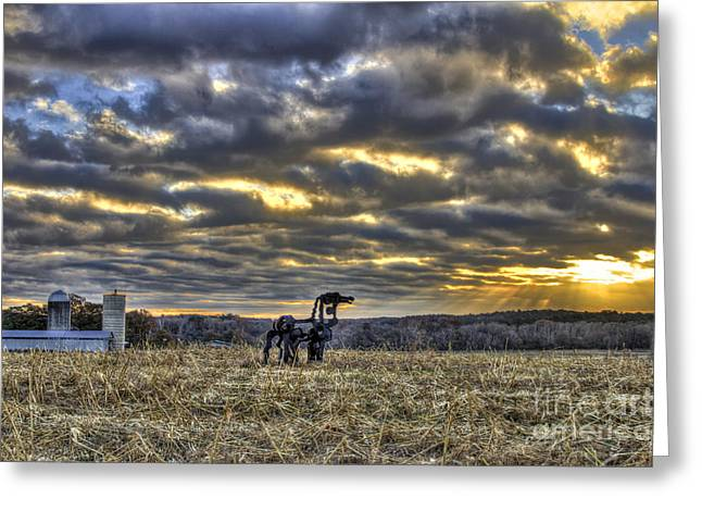 The Horse Greeting Cards - Winter Sunrise The Iron Horse Greeting Card by Reid Callaway