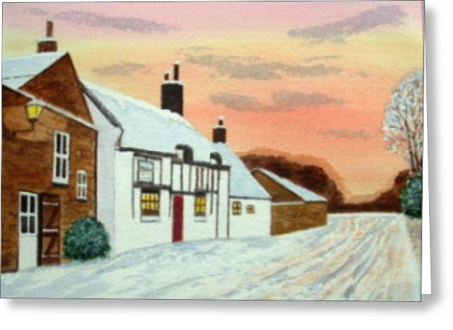Winter Sunset At 'the Wheatsheaf' Greeting Card by Peter Farrow