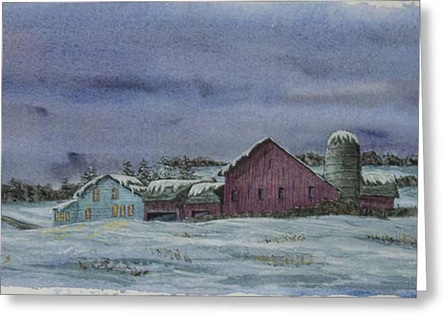 Winter Night Greeting Cards - Winter Sunset Greeting Card by Charlotte Blanchard
