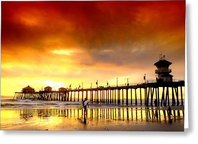 Surfing Photos Greeting Cards - Winter Sunset Huntington Beach Greeting Card by John Lyman Photos