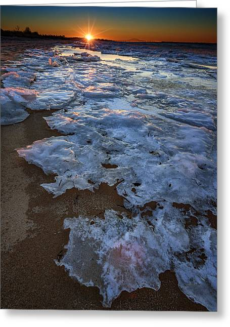 Winter Sunset On Fire Island Greeting Card by Rick Berk