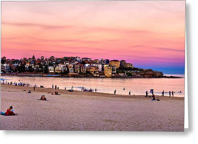 Swell Greeting Cards - Winter Sunset Over Bondi Greeting Card by Az Jackson