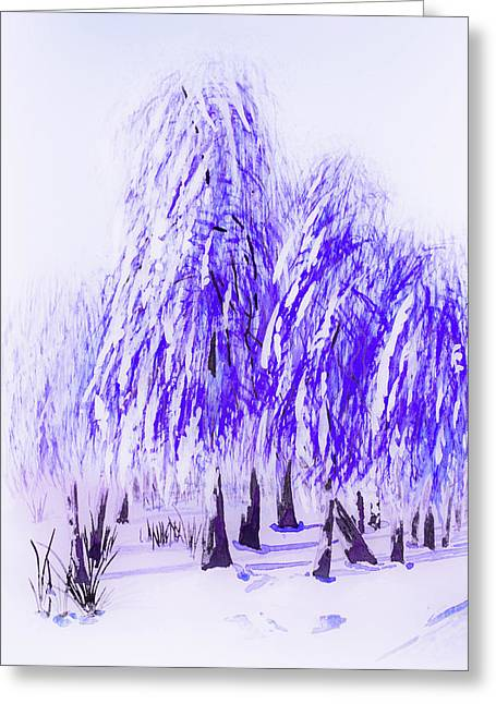 Blur Drawings Greeting Cards - Winter Greeting Card by Svetlana Sewell
