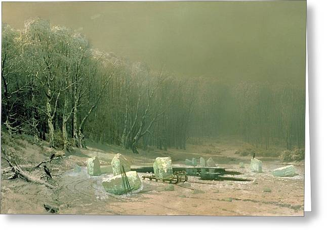 Haze Paintings Greeting Cards - Winter - The Laying Of Ice Greeting Card by Areseny Ivanovich Meshchersky