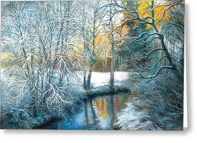 Frozen River Greeting Cards - Winter The Pond Greeting Card by Zorina Baldescu