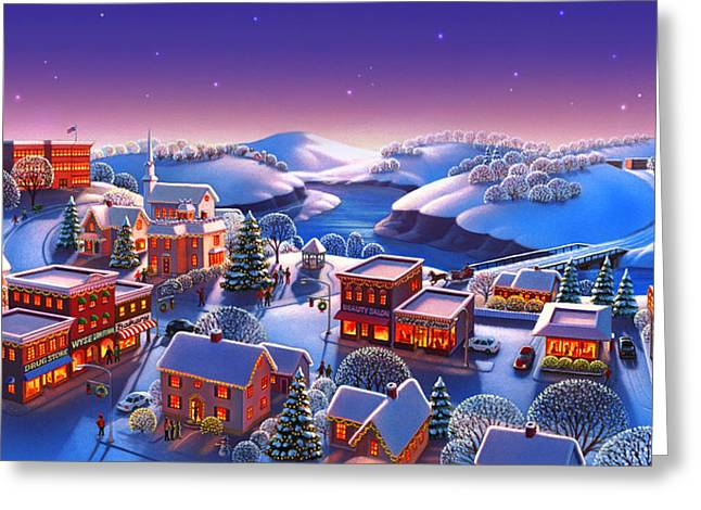 Winter Town Greeting Card by Robin Moline