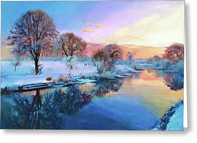 Sun Rays Paintings Greeting Cards - Winter Trees Greeting Card by Conor McGuire