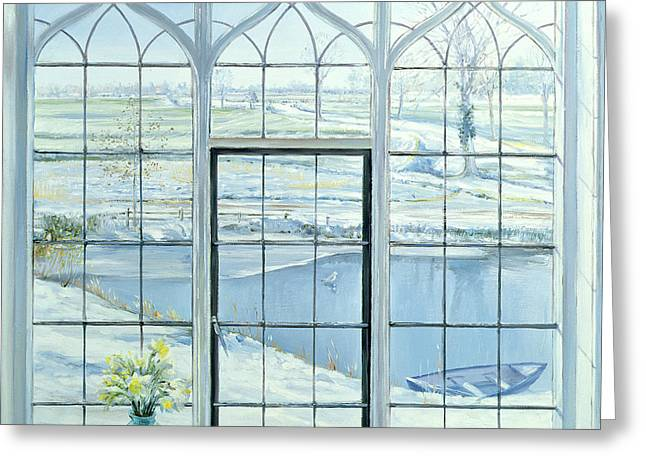 Pot Boat Greeting Cards - Winter Triptych Greeting Card by Timothy Easton