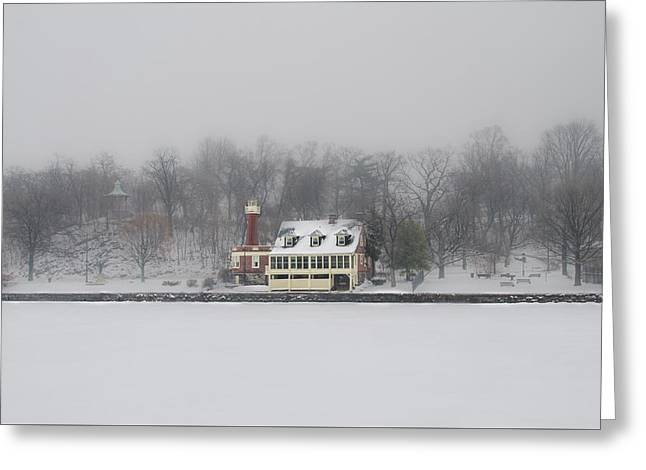 Winter - Turtle Rock Lighthouse - Boathouse Row Greeting Card by Bill Cannon