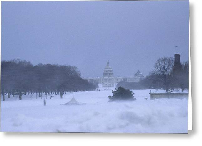 Governmental Greeting Cards - Winter View Of The Capitol Greeting Card by Stacy Gold