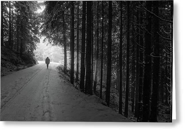 Winter Walk - Austria Greeting Card by Mountain Dreams