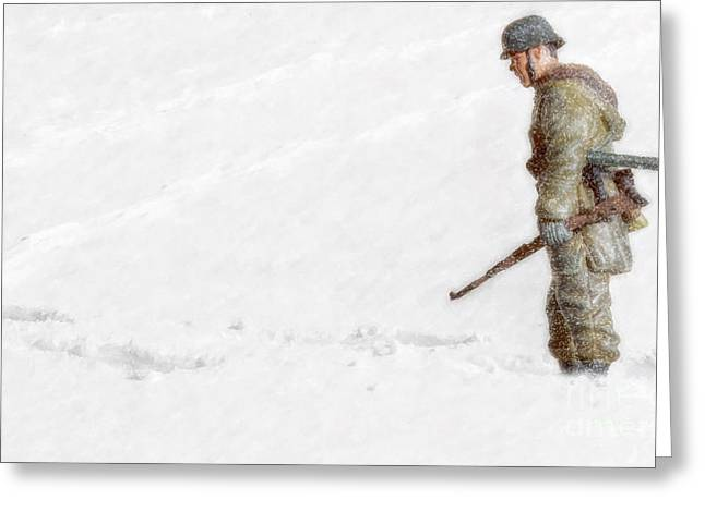 Soldier Of Fortune Greeting Cards - Winter War Panzer Grenadier Greeting Card by Randy Steele