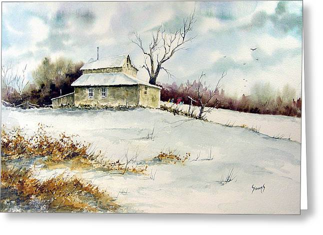 Shack Greeting Cards - Winter Washday Greeting Card by Sam Sidders