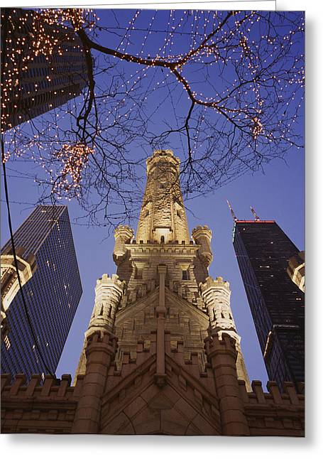Winter Water Tower Chicago Il Greeting Card by Panoramic Images