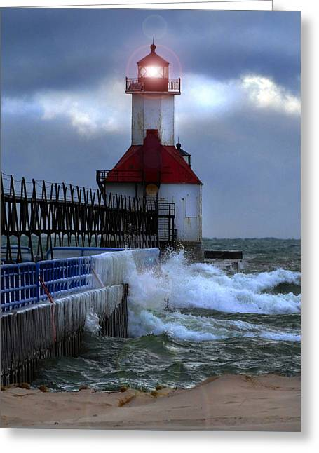 Winter Storm Greeting Cards - Winter Waves at St. Joseph Light Greeting Card by David T Wilkinson