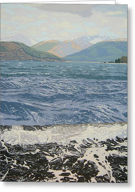 Scottish Art Greeting Cards - Winter waves Greeting Card by Malcolm Warrilow
