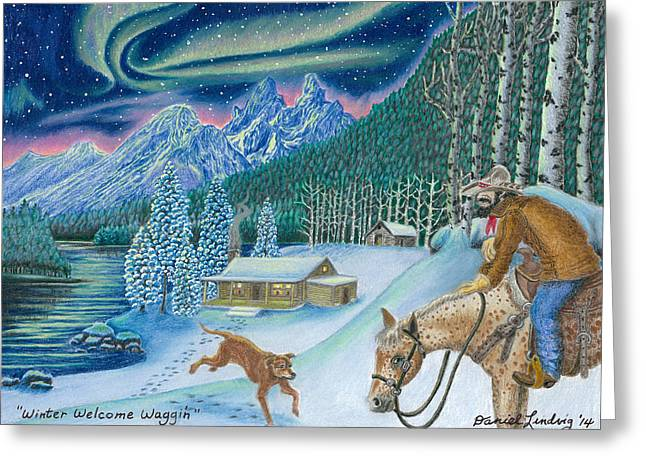 Aura Drawings Greeting Cards - Winter Welcome Waggin Greeting Card by Daniel Lindvig