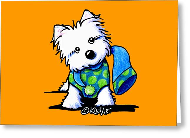 Winter Westie With Lime Greeting Card by Kim Niles