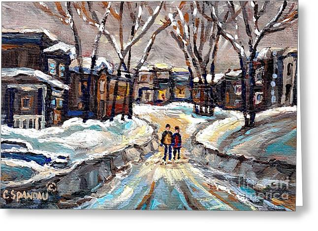 Snowy Day Greeting Cards - Winter Wonderland Painting After The Snowstorm Walking The Snowy Streets Best Original Canadian Art  Greeting Card by Carole Spandau