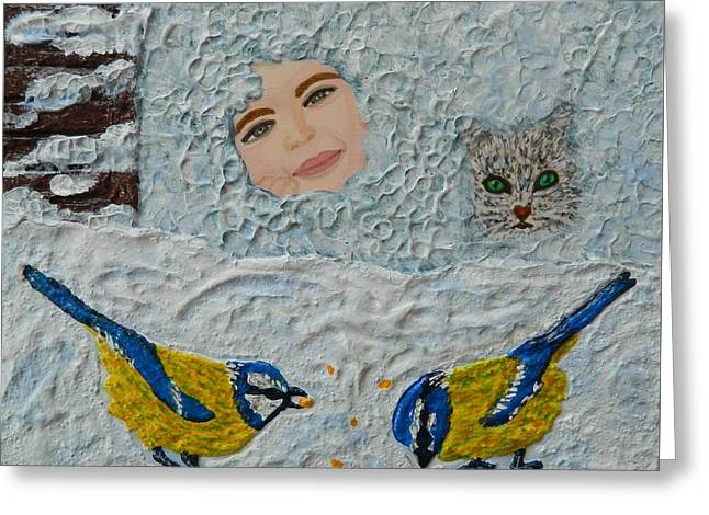 Modern Reliefs Greeting Cards - Winter Wonderland Greeting Card by Liza Wheeler