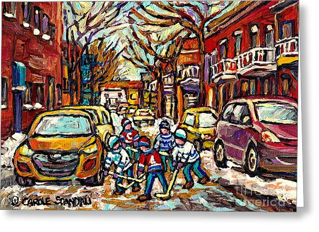 Snow Scene Landscape Greeting Cards - Winter Wonderland Original Hockey Paintings Streets Of The Pointe Canadian City Scene Carole Spandau Greeting Card by Carole Spandau
