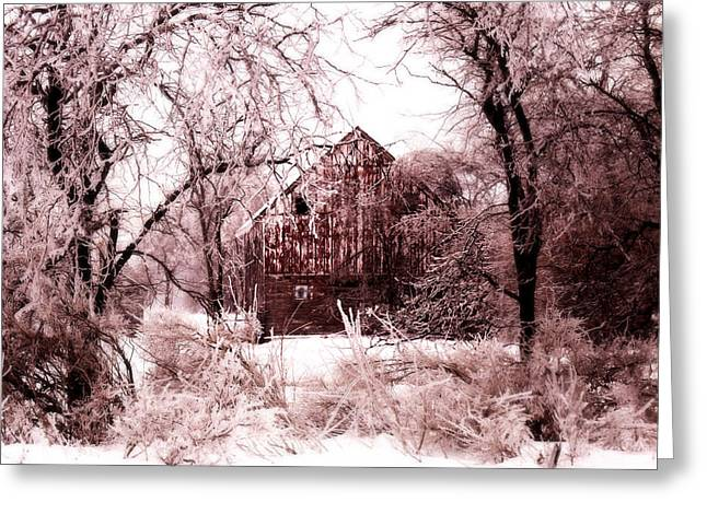 Barn Digital Greeting Cards - Winter wonderland Pink Greeting Card by Julie Hamilton