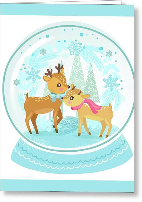 Winter Wonderland Snow Globe Greeting Card by Little Bunny Sunshine