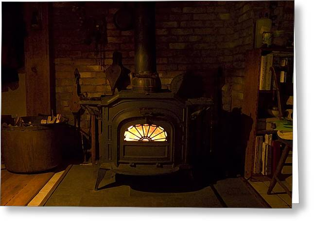 Wood Stove Greeting Cards - Winter Wood Warmth Greeting Card by Ross Powell