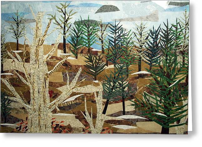 Winter-landscape Tapestries - Textiles Greeting Cards - Winter Woods Greeting Card by Charlene White