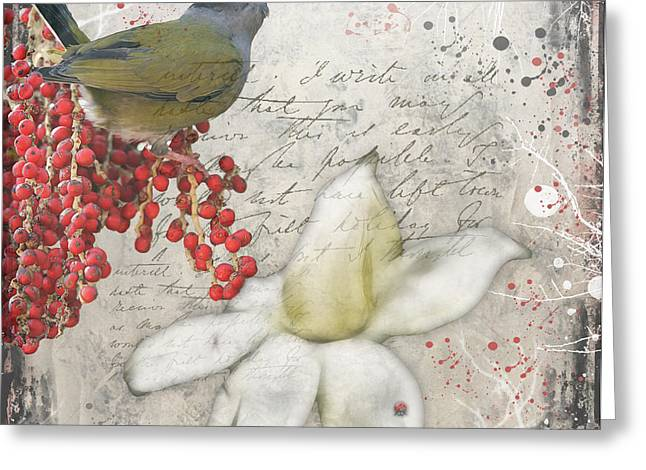 Figs Digital Art Greeting Cards - Winters Fig Bird Greeting Card by Lesley Smitheringale