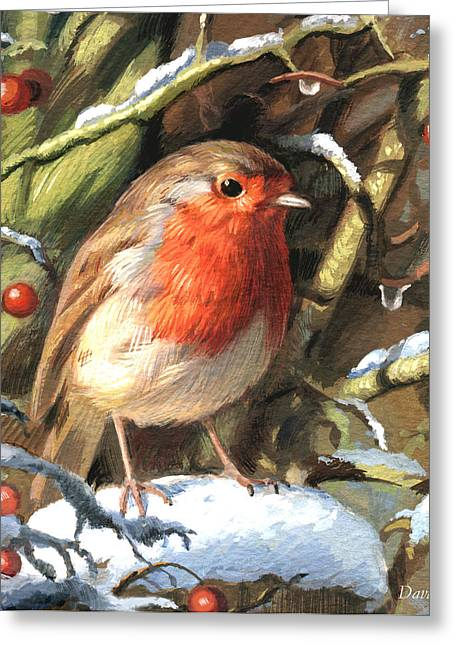 Winters Friend Greeting Card by David Price
