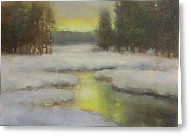 Winter's Glow Greeting Card by Lori McNee