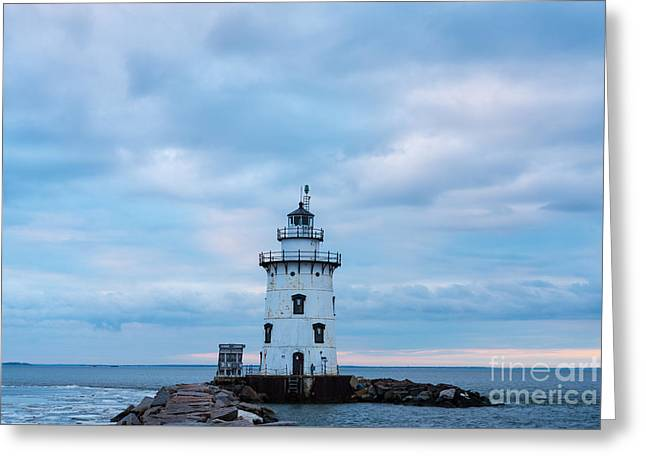 New England Ocean Greeting Cards - Winters Morn at Saybrook Breakwater - New England Lighthouse Greeting Card by JG Coleman