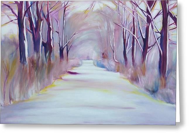 Winter's Path Greeting Card by Sheila Diemert