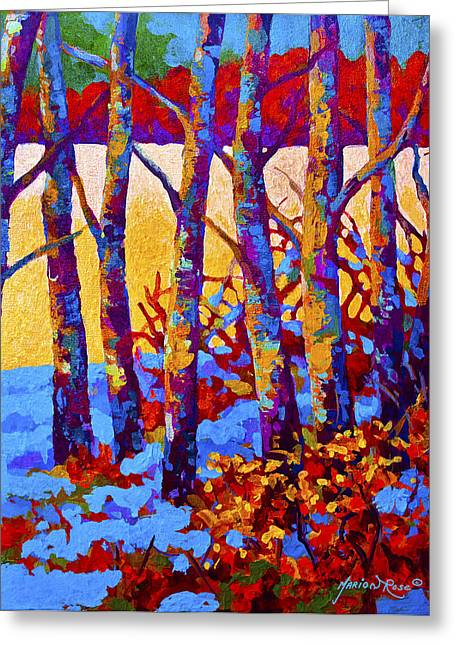 Birch Tree Greeting Cards - Winters Promise Greeting Card by Marion Rose