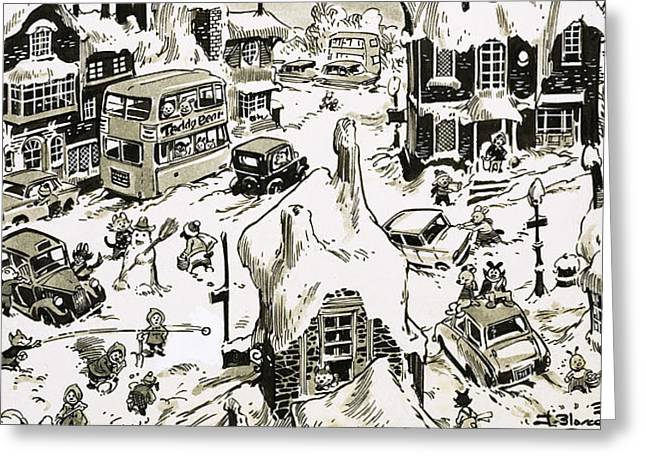 Winter Drawings Greeting Cards - Winterscape Greeting Card by Jesus Blasco