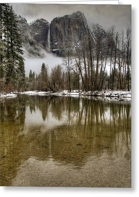 White River Scene Greeting Cards - Wintery Upper and Lower Yosemite Falls  Greeting Card by Connie Cooper-Edwards