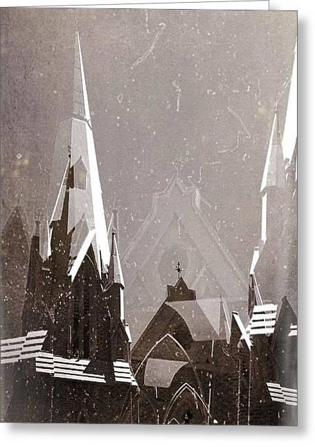 Wintry Church Greeting Card by AlyZen Moonshadow