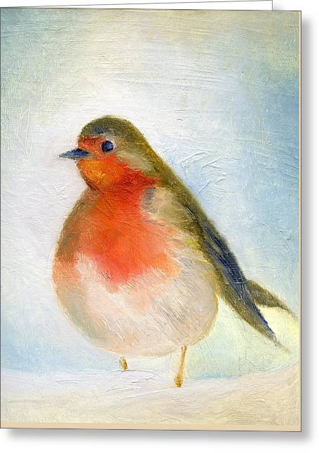 Robin Greeting Cards - Wintry Greeting Card by Nancy Moniz