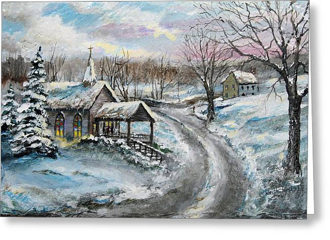 Road Covered With Snow Greeting Cards - Wintry Sunday Greeting Card by C Keith Jones
