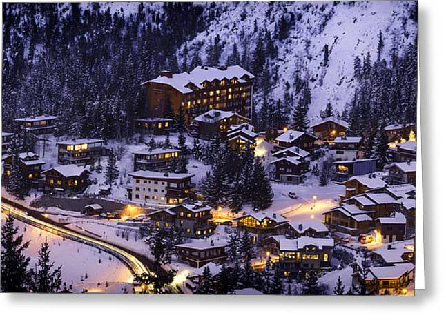 Snowy Evening Greeting Cards - Wintry Sunset at Courchevel Ski Resort in France Greeting Card by Aurelien