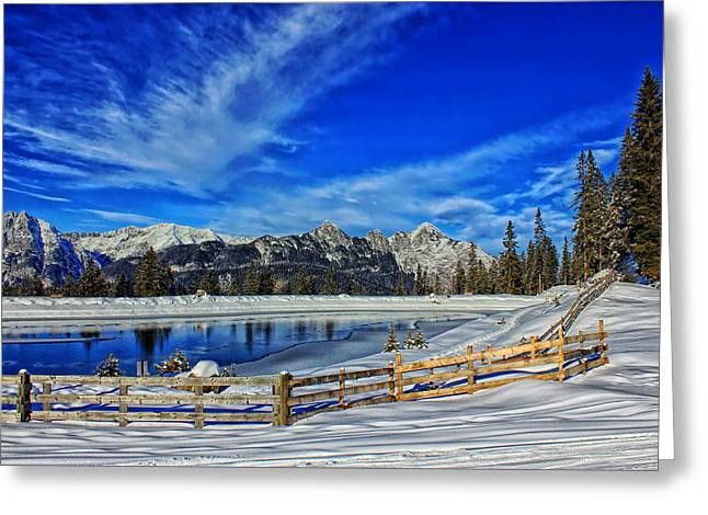 Snow-covered Landscape Greeting Cards - Wintry Vista Greeting Card by Melanie Schamboeck