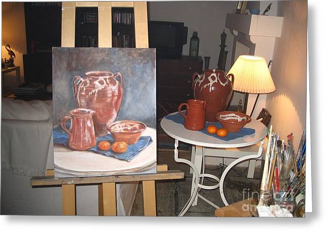 Wip Oil Painting Still Life Greeting Card by Yvonne Ayoub