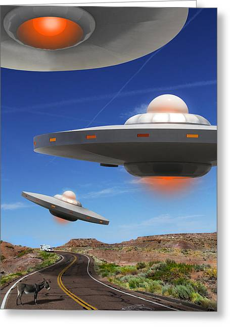 Spacecraft Greeting Cards - WIP You Never Know What You will See On Route 66 Greeting Card by Mike McGlothlen