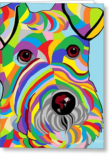 Bright Colors Greeting Cards - Wire Fox Terrier Greeting Card by Eloise Schneider
