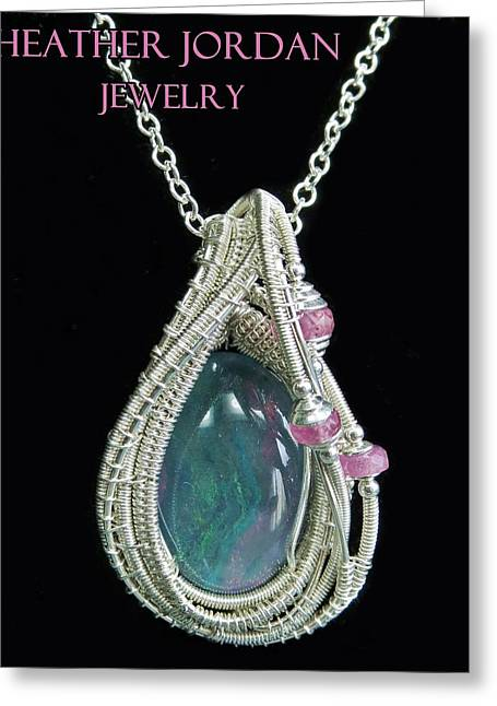 Wrap Jewelry Greeting Cards - Wire-Wrapped Australian Opal Pendant in Sterling Silver with Pink Sapphires ABOPSS2 Greeting Card by Heather Jordan